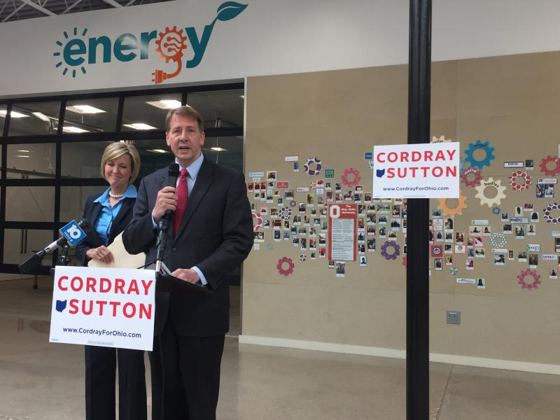 Richard Cordray, Democratic gubernatorial nominee, rolls out his education plan in Columbus at the PAST Innovation Lab with running mate Betty Sutton.