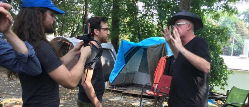 Sage Lewis in the tent city