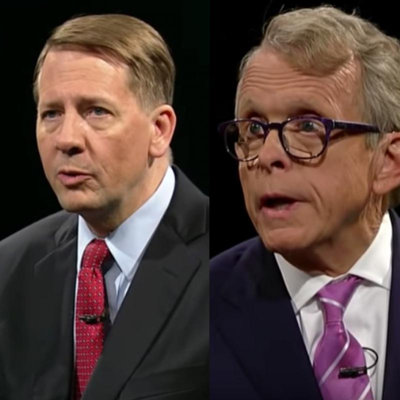 A composite image of Richard Cordray and Mike DeWine.