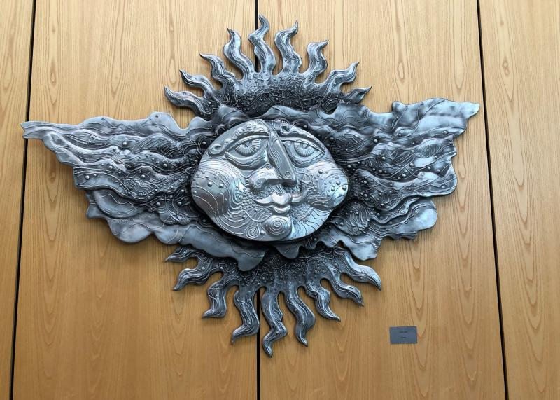 One of Drumm's iconic suns at the Main Branch of the Akron-Summit County Public Library.