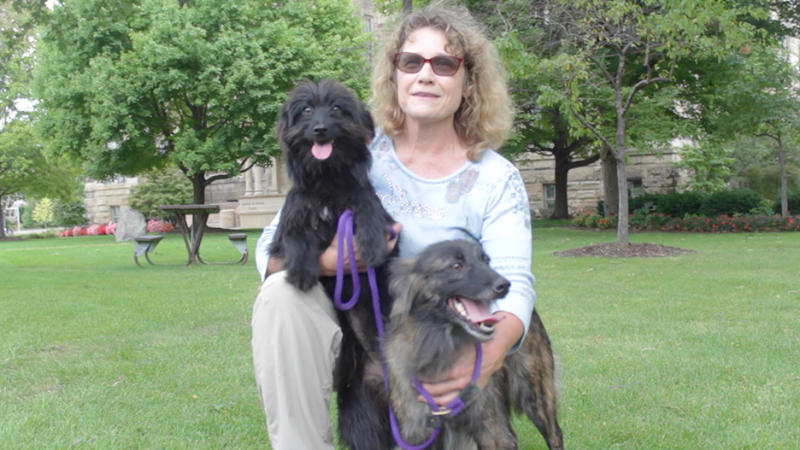 Patricia Princehouse with two of her many dogs.