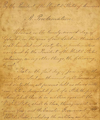 Original emancipation proclamation on display