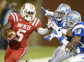 WKU running back Antonio Andrews went over the 1,000 yard mark in the loss against MTSU.