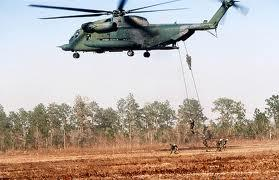 A helicopter carrying members of Ft. Campbell's 101st Airborne Division