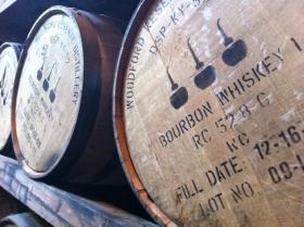 Barrels aging in a warehouse at Woodford Reserve in Versailles
