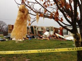 Tornado damage in Marion County, KY