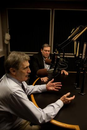 Dr. Jack Thacker and Dr. Glenn LaFantasie in WKU Public Radio studios