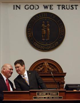 Rep. Jeff Greer, D-Brandenburg (left), confers with House Speaker Greg Stumbo, D-Prestonsburg, on the opening day of the 2013 legislative session.