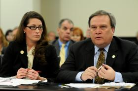 Kentucky Secretary of State Alison Lundergan Grimes, appearing in Frankfort alongside Senate President Robert Stivers