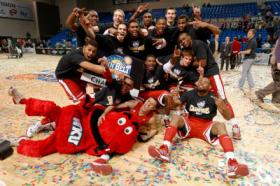 The WKU men's basketball team celebrated its Sun Belt title Monday night.