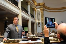 Senate President Robert Stivers, R-Manchester, speaks Friday on a state employee pension reform bill in the Kentucky Senate.