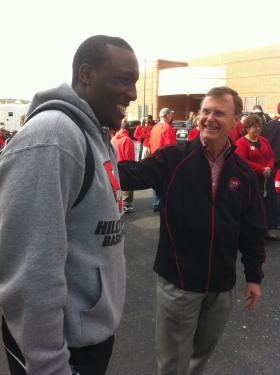WKU sophomore guard T.J. Price is welcomed back to Bowling Green by WKU President Gary Ransdell.