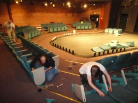 Seats are installed in October 2012 for opening night of Sherlock Holmes