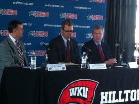 (left to right) WKU President Gary Ransdell, Conference USA Commissioner Britton Banowsky, and WKU Athletic Director Todd Stewart at Monday's announcement