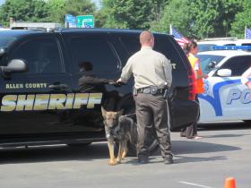 A K-9 officer and dog from Allen County came to Bardstown Thursday for the funeral of slain Officer Jason Ellis.