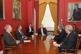 Pictured from left to right are Congressman Ed Whitfield, Senator Rand Paul, Senator Mitch McConnell, Secretary Ernest Moniz and Assistant Secretary Poneman.