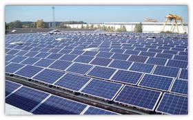 Solar panel arrays capture sunlight and convert it into electricity.