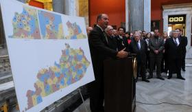 House Republican Floor Leader Jeff Hoover unveiled a GOP-backed redistricting plan Thursday at a news conference in Frankfort.