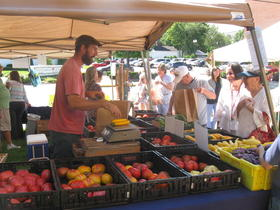 Customers bought fresh produce Wednesday at a farmers market set up at the Barren River District Health Department in Bowling Green.
