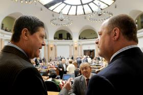 Kentucky House Speaker Greg Stumbo (left) at the state capitol in Frankfort