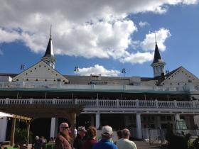 Spectators gathered at Churchill Downs Saturday near the famous twin spires.