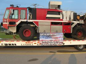 Foam 161, one of the fire trucks responding to the Pentagon on 9/11. Ft. Knox acquired the truck and will include it in exhibits on leadership at the Patton Museum.