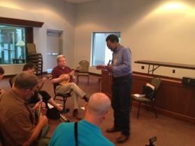 Richard Brown leads a class for intermediate players at the 8th annual Bill Monroe Style Mandolin Camp in Owensboro.