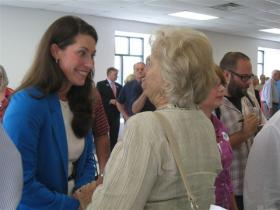 Alison Lundergan Grimes speaks with supporters during a stop in Warren County.