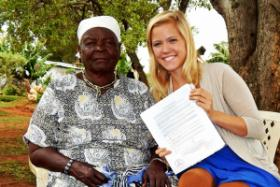 WKU student and Somerset native Amy Correll (right) met Sarah Obama, the President's biological grandmother, during her research trip to Kenya.