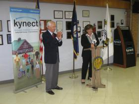 Kentucky Governor Steve Beshear and Cabinet for Health and Family Services Secretary Audrey Haynes visited the Barren River District Health Department to show off a new kiosk where the uninsured can sign up for heath coverage.