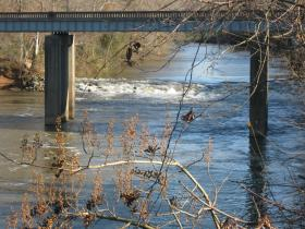 These rapids under the Old Louisville Road bridge in Warren County is where a man was seen Sunday yelling for help.