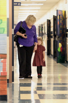 Heidi Givens took preschooler Kelsey Gleason, 4, a deaf student, from her class for a one-on-one teaching session at Audubon Elementary in Owensboro, Ky. Photo by Nick Gonzalez