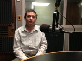 Kent Johnson in the studios of WKU Public Radio