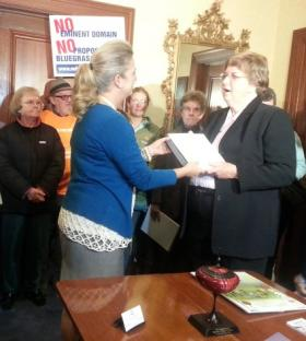 A petition opposing the Bluegrass Pipeline is presented at the governor's office in November, 2013
