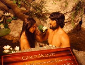 Adam and Eve are depicted in an exhibit at the Creation Museum in northern Kentucky.