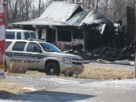 The scene where nine bodies were discovered following a house fire.