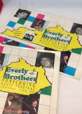 Promotional material from the Everly Brothers' 'Homecoming Concerts' in Muhlenberg County