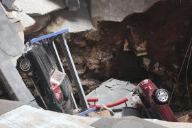 The sinkhole opened up at the National Corvette Museum in Bowling Green on Feb. 12.
