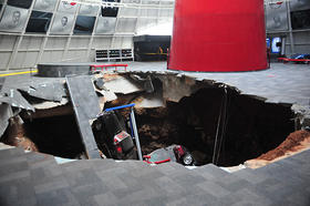 A 40' wide by 60' deep sinkhole opened up beneath the National Corvette Museum February 12.