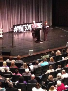 Chad Watson spoke Sunday to a Greenville audience, his first public comments since January 30 when his house caught fire overnight, killing his wife and eight children.