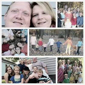 A collage of Chad and Larae Watson and their nine children.
