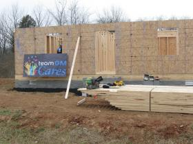 The frame of a planned four-bedroom home in Bowling Green made possible through a partnership with General Motors and Habitat for Humanity.
