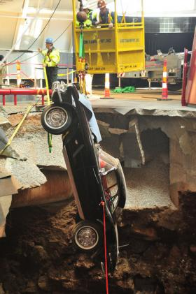 A 1962 Corvette was pulled from the sinkhole on Tuesday at the National Corvette Museum