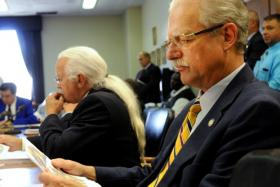 Senate Transportation Committee Chair Ernie Harris (right) pictured earlier in the 2014 General Assembly session