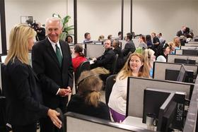 Kentucky Governor Steve Beshear visits the Kynect call center in Lexington.