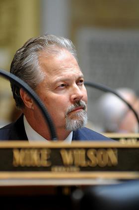 Sen. Mike Wilson, a Bowling Green Republican, follows the vote tally on a charter school bill he sponsored in the  Kentucky Senate.