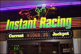 Instant Racing allows gamblers to place wagers on horse races that have already been run.