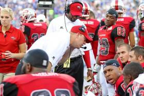 New WKU head football coach Jeff Brohm on the sidelines in 2013.