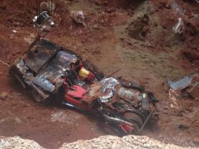 The ZR-1 Spyder suffered extensive damage from a nearly 50-foot fall beneath the ground of the Skydome where the car had been on display.