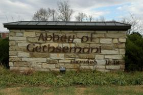 A sign welcomes visitors to the Abbey of Gethsemani in Nelson County.